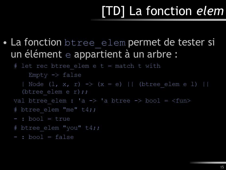 [TD] La fonction elem La fonction btree_elem permet de tester si un élément e appartient à un arbre :